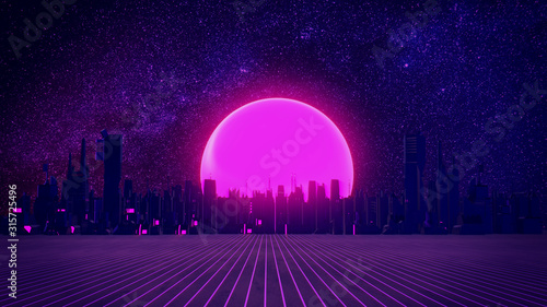 RETRO CITY SKYLINE: Neon glowing sun and starry sky | Synthwave / Retrowave / Vaporwave Background | 3D Illustration