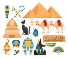 Ancient Egypt Symbols Cartoon Colorful Vector Illustrations Set