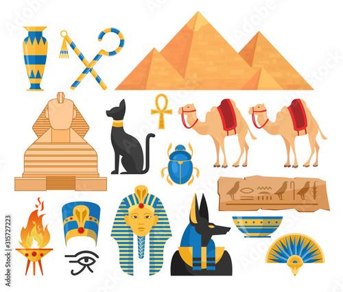 Fotografia Ancient egypt symbols cartoon colorful vector illustrations set