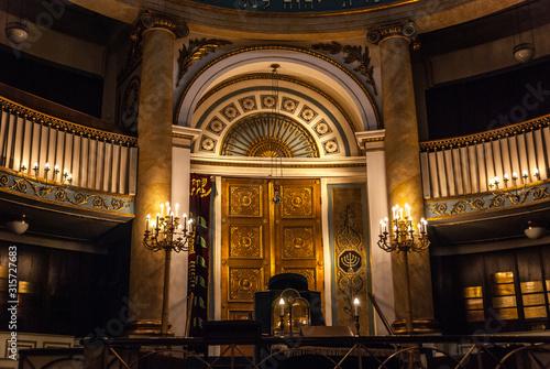 Fotomural Vienna, Austria, August 21 2019 - The gold door of the Torah ark (or Aron Kodesh