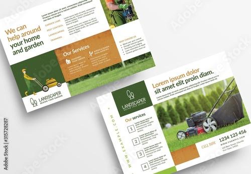 Fototapeta Flyer Layout with Gardening Illustration Elements obraz