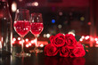 canvas print picture - Dinner date night with candle light, wine and roses.