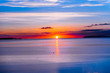 canvas print picture - sunset over the sea, bangor, wales
