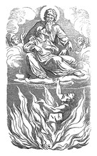 Vintage Drawing Or Engraving Of Biblical Story Of Jesus And Parable Of The Rich Man And Poor Lazarus.Sinner Is Going To Hell, Beggar To Heaven. Bible,New Testament,Luke 16. Biblische Geschichte