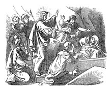 Vintage Drawing Or Engraving Of Biblical Story Of Jesus In Tomb Raises Lazarus From The Death. Bible,New Testament,John 11. Biblische Geschichte , Germany 1859.