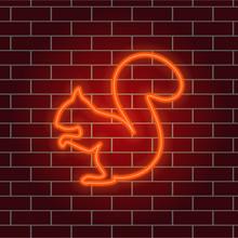 Neon Squirrel. Orange Glowing ...