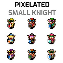 Illustration Of Several Small Knights Characters Wearing Different Color Armor For Videogames And Designs.