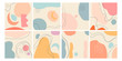 Set of eight abstract backgrounds. Hand drawn various shapes and doodle objects. Contemporary modern trendy vector illustrations. Every background is isolated. Pastel colors