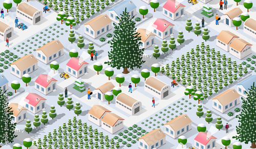 Winter Christmas tree seamless background Canvas Print