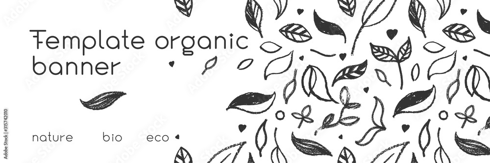 Fototapeta Organic food background for eco store. Eco-friendly icons set. Natural logo elements. Bio labels. Organic banner template for healthy design. Vector leaves pattern seamless. Agriculture growth logo.