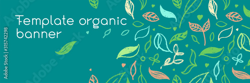 Fototapeta Organic food background for eco store. Eco-friendly icons set. Natural logo elements. Bio labels. Organic banner template for healthy design. Vector leaves pattern seamless. Agriculture growth logo. obraz