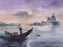 Venice Evening Grand Canal Gon...