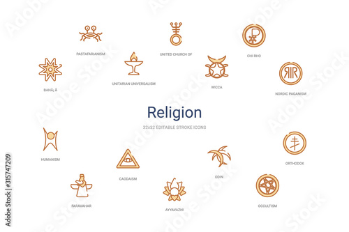 religion concept 14 colorful outline icons. 2 color blue stroke icons