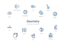 Geometry Concept 14 Colorful Outline Icons. 2 Color Blue Stroke Icons