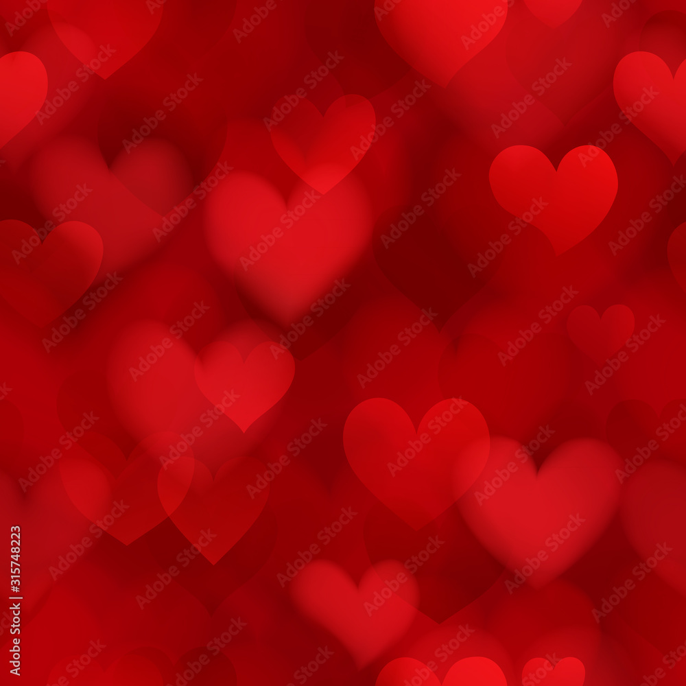 Fototapeta Seamless pattern of translucent blurry hearts in red colors. Illustration on Valentine's day