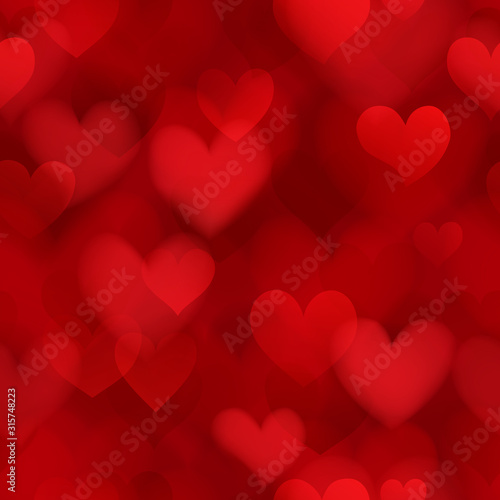 Obraz Seamless pattern of translucent blurry hearts in red colors. Illustration on Valentine's day - fototapety do salonu