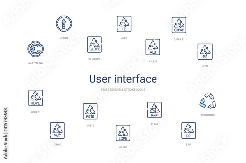 user interface concept 14 colorful outline icons Wallpaper Mural