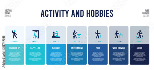 web banner design with activity and hobbies concept elements. Canvas Print