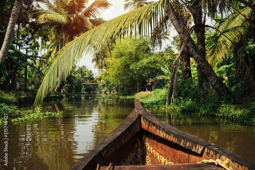 Traditional local boat on Alleppey backwaters Canvas Print