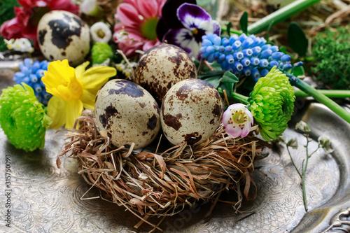 Fotografia A decorative nest made of hay with quail eggs inside