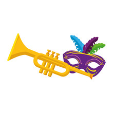 Isolated Mardi Gras Mask And T...
