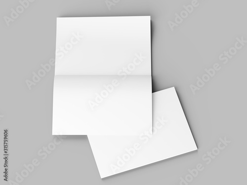 Magazine with open cover. Vertical A4 format. 3d illustration. Canvas Print