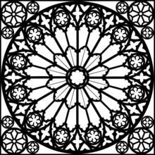Silhouette Gothic Rose Window Vector Illustration