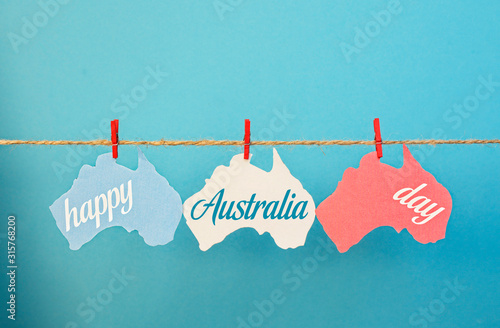 Photo Australia map garland - Australian national Holiday  concept