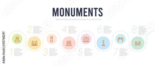 monuments concept infographic design template Canvas Print