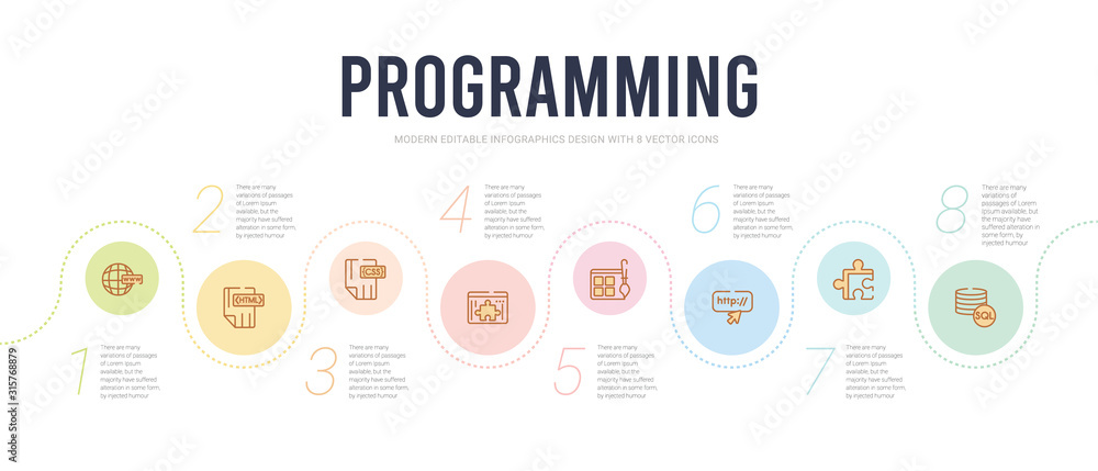 Fototapeta programming concept infographic design template. included mysql, addon, http, theme, plugin, css icons