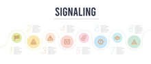 Signaling Concept Infographic Design Template. Included Traffic Cones, Parking Brake, Allowed Drinking, Price Ticket, M, No Hooks Icons