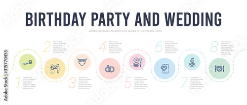 Fototapeta birthday party and wedding concept infographic design template. included love plate, love potion, love smartphone, makeup, marriage, mustache icons obraz