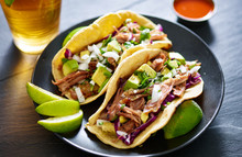 Pork Carnita Tacos Close Up Wi...