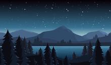 Night Lake Landscape Flat Vect...