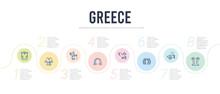 Greece Concept Infographic Design Template. Included Pillar, Chariot, Laurel, Pegasus, Omega, Zeus Icons