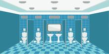 Public Toilet Interior. With W...