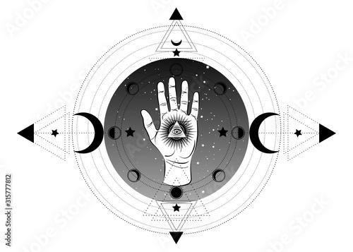 Obraz na plátne third eye hand esoteric spiritual icon