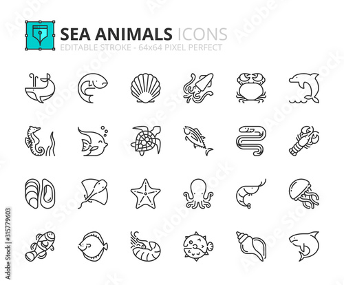Photo Simple set of outline icons about sea animals. Sea world.