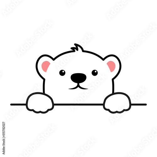 Cute polar bear paws up over wall, polar bear face cartoon icon, vector illustration Fotomurales