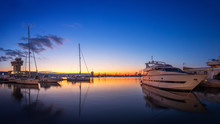 Yacht Port And Beautiful Sunse...