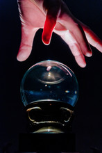 Hand Over Crystal Ball In Dark Room, Crystal Ball Gazing, Crystal Ball Psychic, Crystal Ball Fortune Telling, Crystal Ball Scrying, Crystal Ball Object Of Power, Seance With Crystal Ball 4