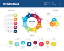 Infographic Design From Geometric Figure Concept. Informational, Timeline, Statistical And Steps Presentation Themes.