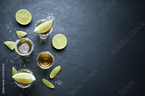 Carta da parati Mexican Tequila shots with salt and lime slices on grey table, flat lay