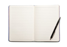 Open Empty Notebook And Pen Isolated On White, Top View