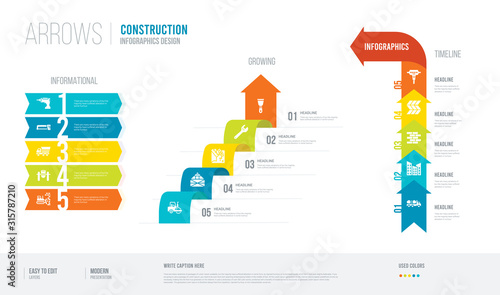 arrows style infogaphics design from construction concept Canvas-taulu