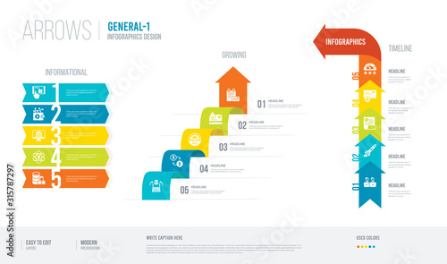 arrows style infogaphics design from general-1 concept Wallpaper Mural