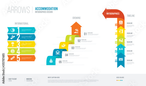 Photo arrows style infogaphics design from accommodation concept
