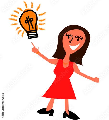 Una mujer teniendo una brillante idea, la mujer tiene vestido. Canvas Print