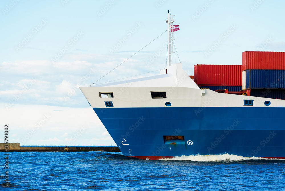 Fototapeta Large container ship close-up, Baltic sea, Latvia