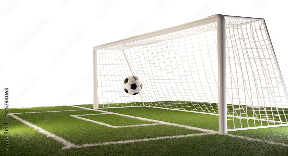 Fototapeta soccer field with football ball and soccer goal 3d-illustration